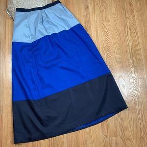 Boden Silk Colorblock Maxi Skirt